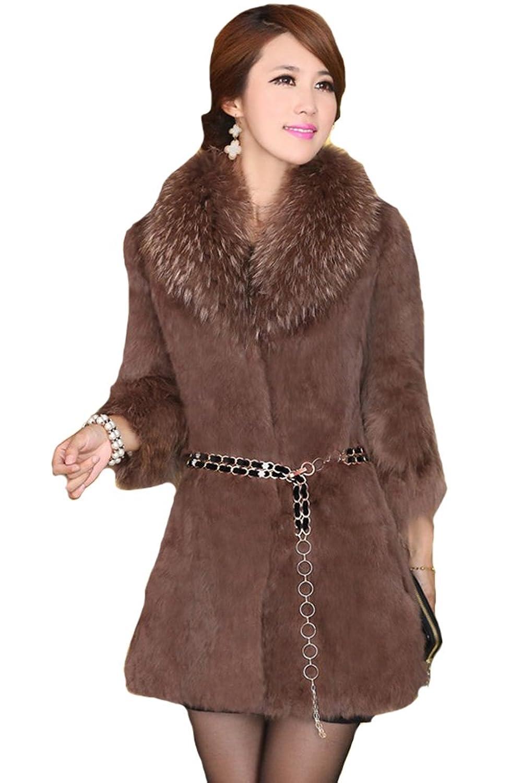 queenshiny Damen 100% Echte Kaninchen Pelz Lang Mantel Jacke Mit Waschbär Pelz Kragen Winter online bestellen