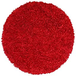 Red Shimmer Shag (2\'x2\') Round Rug