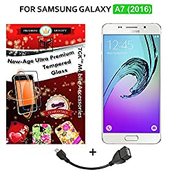 """TGKâ""""¢ Combo For Samsung Galaxy A7 - 6 (New 2016 Edition - A710) (Combo of 2 Tempered Glass + 1 OTG Cable) - TGK PREMIUM 9H Hardness ShatterProof Toughened Tempered Glass Screen Protector + OTG Cable"""
