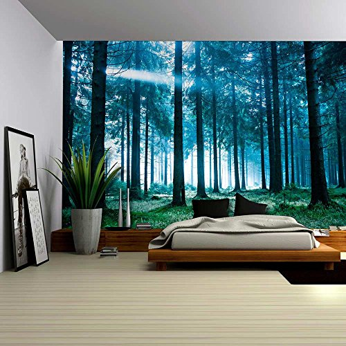 Wall26® - Blue Misted Forest with the Sun Peaking Through - Wall Mural, Removable Sticker, Home Decor - 66x96 inches