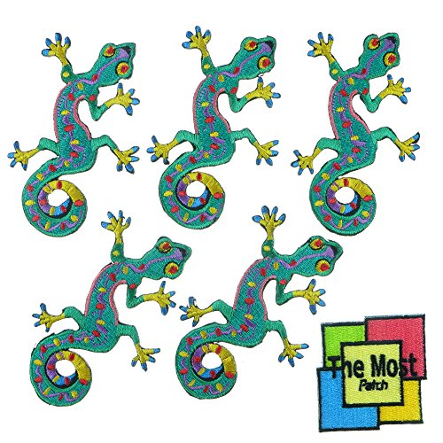 Lot of 6 pieces Lizard Gecko Salamander Hippie Retro Biker Embroidered Iron/Sew On Patch (Sew On Patches Punk compare prices)