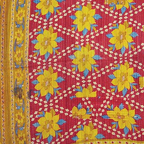 patrón de colcha floral étnico doble tamaño colcha kantha multicolor puntada gudri 82