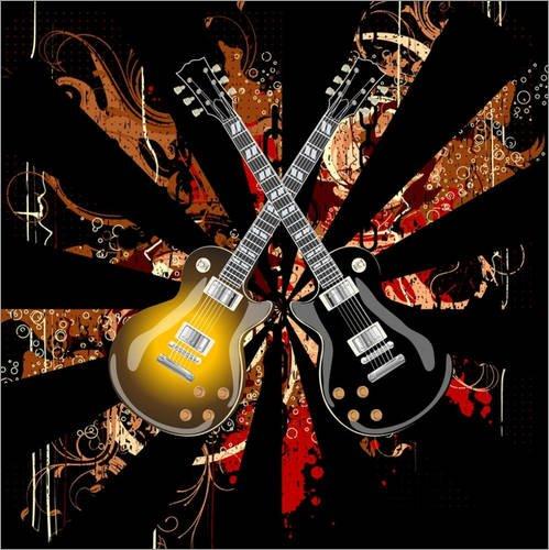 Stampa su legno 40 x 40 cm: crossed guitars di Svetlin Rusev