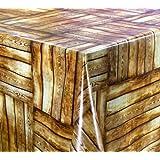 WACHSTUCH TISCHDECKE abwischbar Meterware, Größe wählbar, 1000x140 cm, Glatt Holz Kacheln