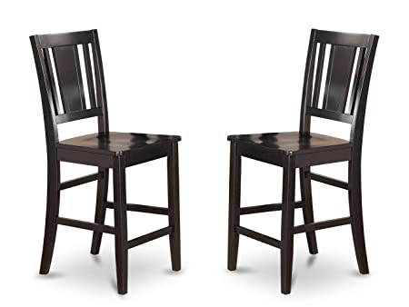 East West Furniture BUS-BLK-W Counter Height Chair Set for Dining Room with Wood Seat, Black Finish, Set of 2