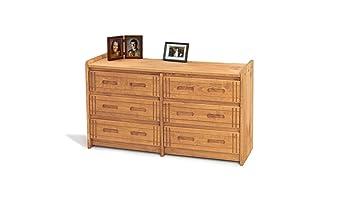 Chelsea Home Furniture 360066-W 6 Drawer Dresser, Honey Finish