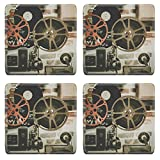 MSD Square Coasters Free stock photo Movie Reel Projector Film Set of 4 Natural Rubber Material Image 918655