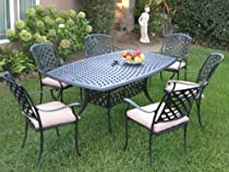 Hot Sale Outdoor Cast Aluminum Patio Furniture 7 Piece Dining Set KL4272 CBM1290