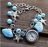 ファッション魅力レディース 女の子 バングルニットレザー腕時計・ウォッチ  ブレスレットクォーツ腕時計 (パープル) (ブルー)