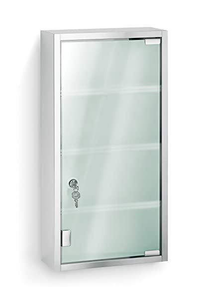 Blomus 68200 Stainless Steel Locking Medicine Cabinet Features Frosted Glass with Matte Finished And Four Fixed Shelves