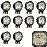 "Masione White 27W 5"" Round 9-LED Lights Flood Work Lamps (10 Pack, 27W Round, Flood Light)"