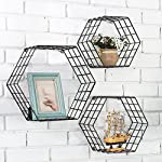 Metal Wire Hexagon Design Wall Mounted Floating Shelves, Set of 3, Black
