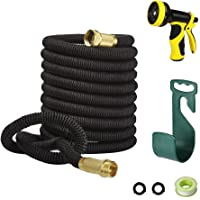 LAPOND 100 Feet Expandable Garden Hose With Solid Brass Connector (Black)