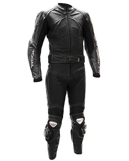 Tschul® Suit en cuir 750 ALL BLACK Combinaison moto en cuir vachette pour homme Piste Doublure Motard Protections noir