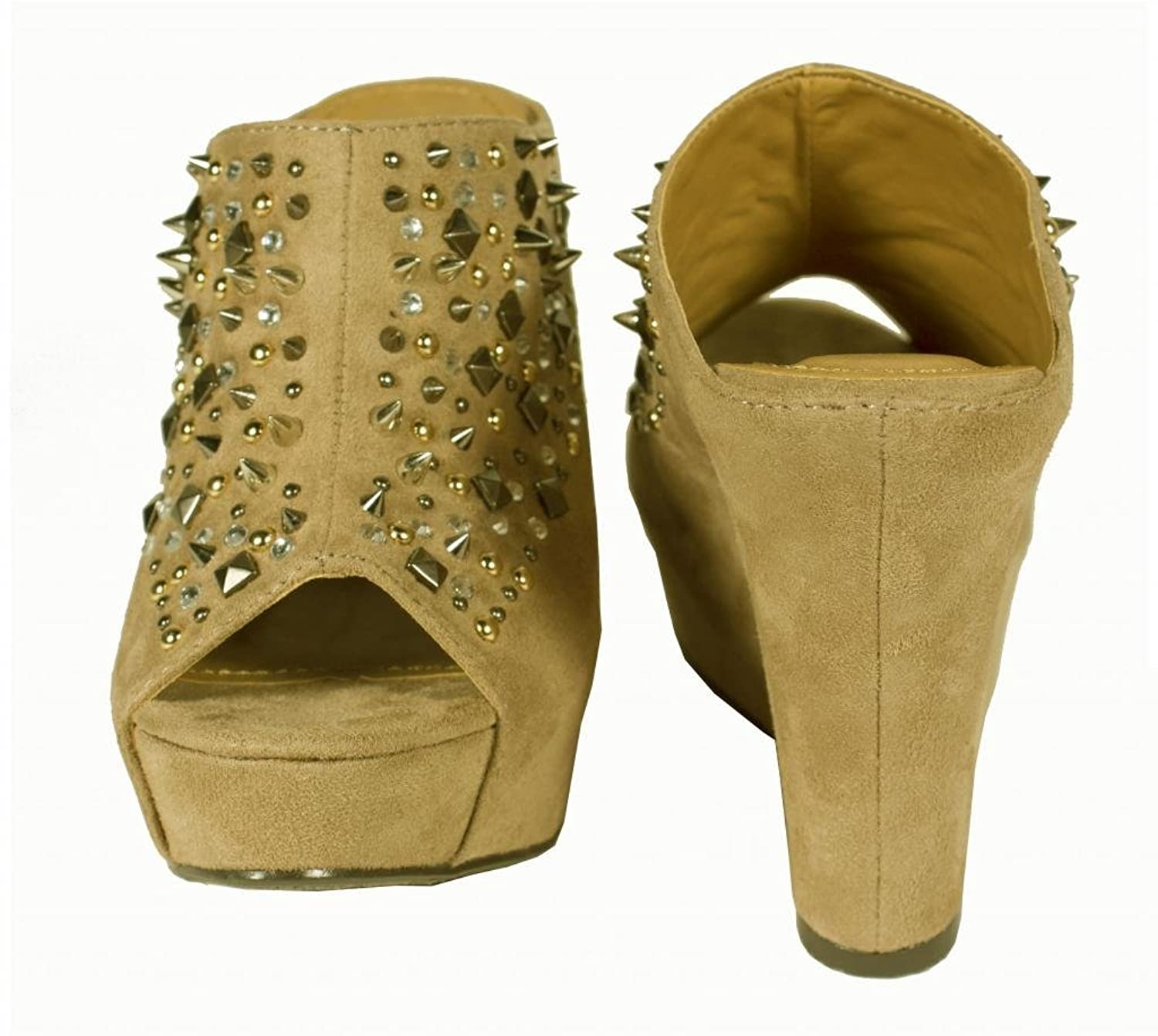 Burt! By Speed Limit 98 Sexy and Edgy Rhinestone and Spike Studded Peep-toe Mule Wedge with Clog Style Open Back in Taupe Faux Suede
