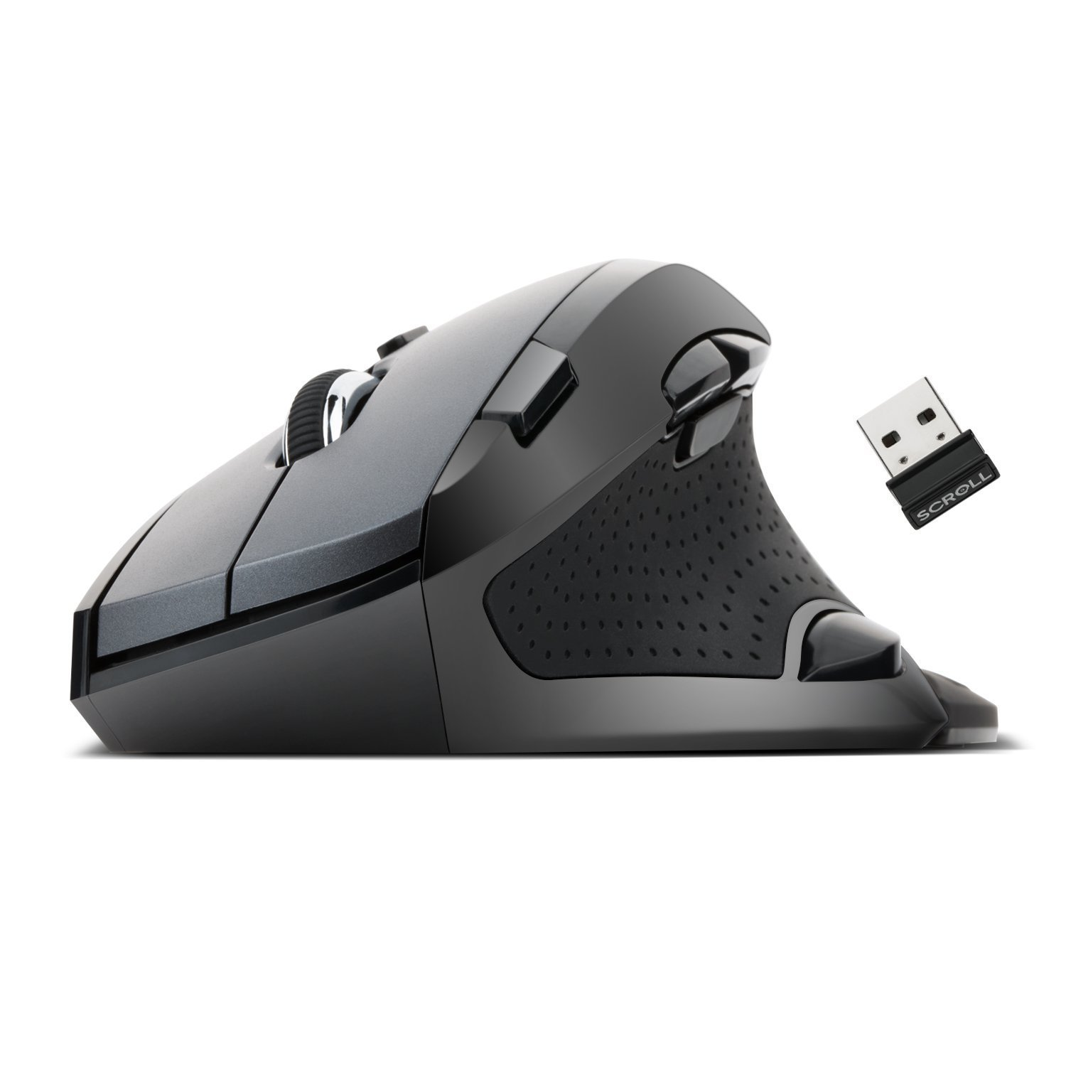 Etekcity Scroll M910 Wireless Vertical Mouse (60 Degree): 9 Clickable Function Buttons (Certified Refurbished)