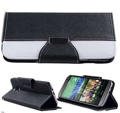 Mylife Midnight Black {Hipster Design} Faux Leather (Card, Cash And Id Holder + Magnetic Closing) Slim Wallet For The All-New Htc One M8 Android Smartphone - Aka, 2Nd Gen Htc One (External Textured Synthetic Leather With Magnetic Clip + Internal Secure Sn
