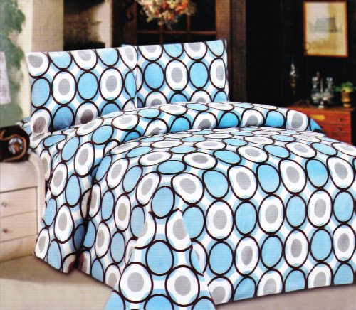Couture Home Collection Modern Circle Design Deep Pocket Wrinkle Free Sheet Set - 650 Thread Count - Blue/Brown (Blue/Brown, Queen)