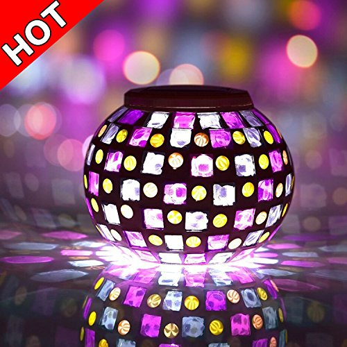 Senbowe™ Solar Powered Mosaic Glass Ball LED Garden Lights,Color Changing Solar Table Lamps,Waterproof Solar Outdoor Lights for Home,Yard, Patio, Party Decorations,Ideal Gifts – 5.12 * 4.13 In