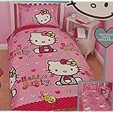 Hello Kitty Reversible Folk Pink Duvet Girls Single Bed Set- Duvet cover and Pillow Case