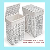 Rectangular Laundry Wicker Basket White, Wicker Basket Set of 3, Hamper With Lid and Cotton Lining, Extra Large XXL, Medium, Small,Stands Tall Vintage for Kitchen, Bathroom Indoor/Out Door, Ideal Gift Set, Shopping Trolly, Washing Organiser, Used As Storage Unit, Cloth and Toy storage, storage unit, Beautiful Peice of Furniture by Think-Louder | Medium Basket White 38x28x49 cm