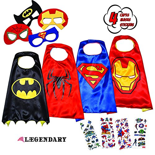 LAEGENDARY Superhero Costumes for Kids - 4 Capes and Masks - Glow Spiderman Logo (Best Gifts For A 7 Year Old Boy compare prices)