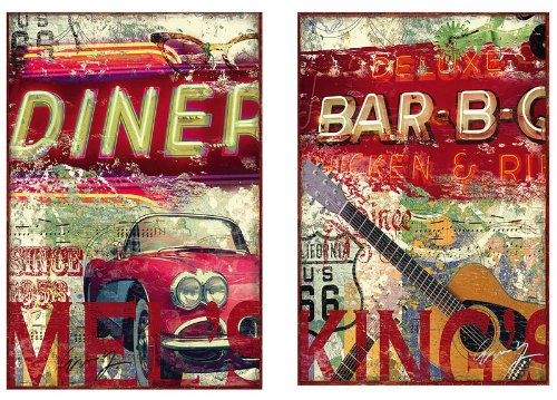 2 Assorted: Wall Canvases 36x24 King's BBQ Mel's Diner
