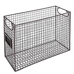 Mesh Wire Brown Metal Document Storage Container / Magazine Rack / File Folder Organizer w/ Label Holder