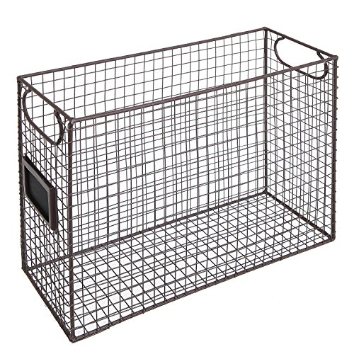 Mesh Wire Brown Metal Document Storage Container / Magazine Rack / File Folder Organizer w/ Label Holder