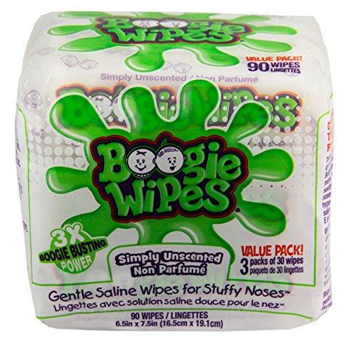 Boogie Wipes Natural Saline Kids and Baby Nose Wipes for Cold and Flu, Unscented, 90