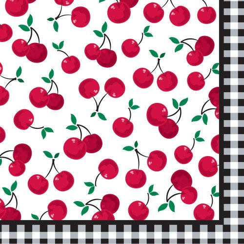 Creative Converting Cherry Gingham Dinner Napkins, 16 Count