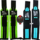 Wrist Wraps (2 Pairs/4 Wraps) for Weightlifting/Crossfit/Powerlifting/Bodybuilding - For Women & Men - Premium Quality Equipment & Accessories for the Absolutely Best Hand Strength & Support Possible - Guard & Brace Your Wrists With this Gear to Avoid Injury During Weight Lifting - 1 Year Warranty!