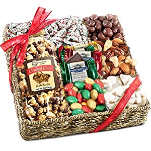 Holiday Chocolate Caramel Nuts and Treats Christmas Basket