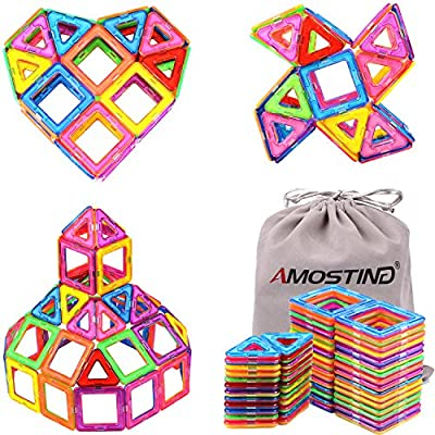 AMOSTING Magnetic Blocks Building Toy Tiles Sheet Kit - 56pcs