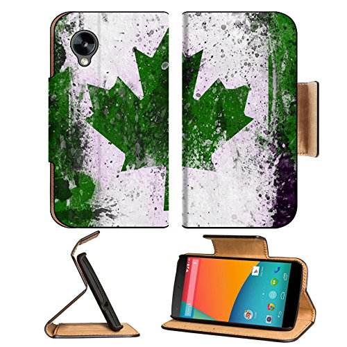 Canada Flags Canadian Green Color Google Nexus 5 Hammerhead Lg Flip Case Stand Magnetic Cover Open Ports Customized Made To Order Support Ready Premium Deluxe Pu Leather 5 11/16 Inch (145Mm) X 2 15/16 Inch (75Mm) X 9/16 Inch (14Mm) Msd Nexus Cover Profess