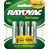 Rayovac Recharge Rechargeable 1350 mAh NiMH AA Pre-Charged Battery, 8-pack (LD715-8OP)