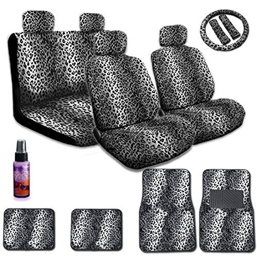 New Yupbizauto Brand True Premium Grade Universal Size Safari Snow Leopard Print Low Back Front Car Seat Covers, Rear Bench Cover, Seat Belt Covers, Steering Wheel Cover, 4 Carpet Floor Mats and a 2 Oz Purple Slice Car Wash Free Detailer/multipurpose Cleaner (Baby Car Cheetah Seat Covers compare prices)