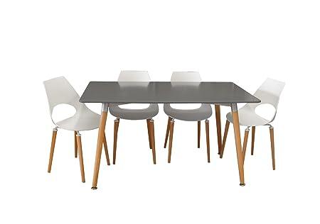 Conjunto mesa Eames GRIS 140 x 80 cm. + 4 silla F09-2W