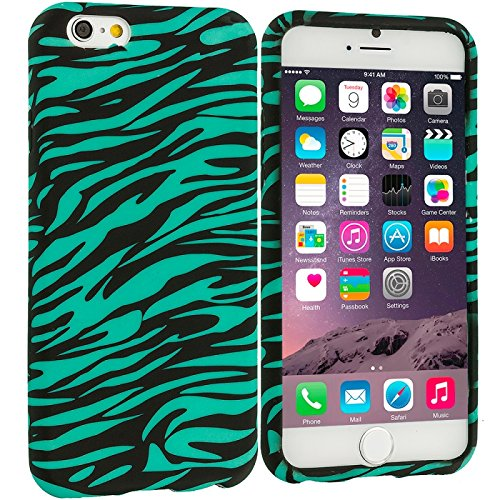 Cell Accessories For Less (Tm) Black/Baby Blue Zebra Tpu Design Soft Case Cover For Apple Iphone 6 (4.7) + Bundle (Stylus & Micro Cleaning Cloth) - By Thetargetbuys front-857514