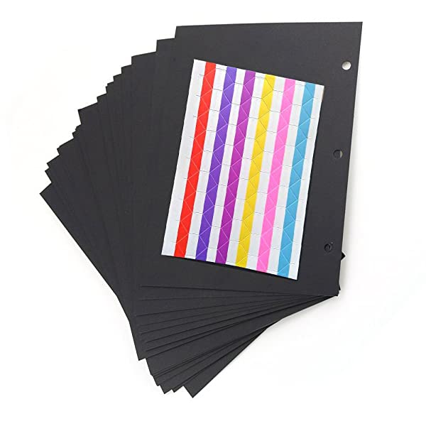 Scrapbook Black Paper Pages,Refill Pages Paper for DIY Scrapbook Photo Album,20 pages 8.26x 5.9(21 x 15cm) (Refill Pages) (Color: Refill pages)