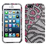 Lumii Ark 3D Bling Crystal Design Case for Apple iPhone 5 / 5S - (Leopard/Black Zebra Design)