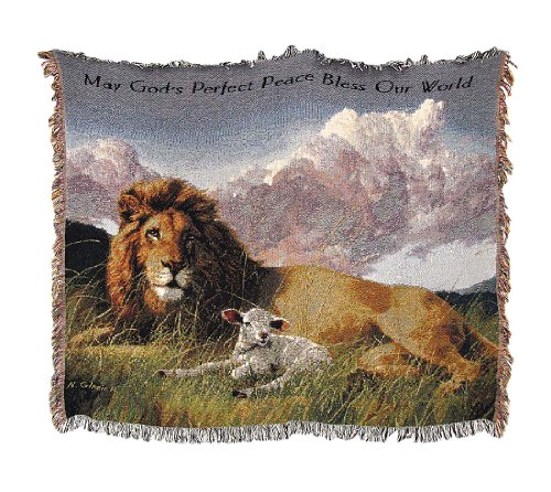 Woven Tapestry Lion And Lamb Cotton Throw Blanket 50 In. X 60 In. front-870704