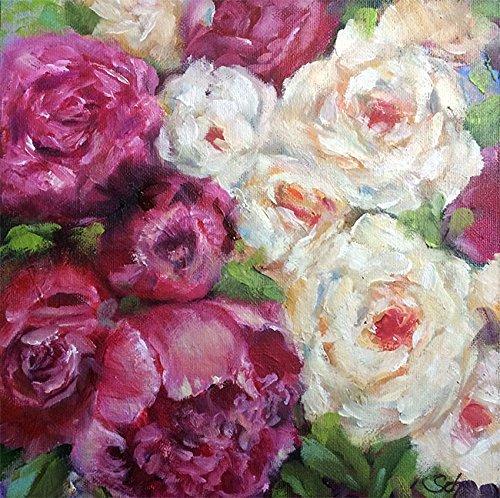 Bild Blumen Rosen modern Malerei Kunst Original Acryl Gemälde 20x20 cm