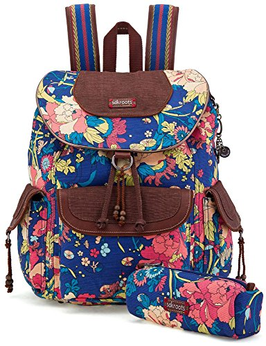 Sakroots Artist Circle Flap Backpack, Royal Flower Power, One Size