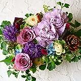 フラワー ギフト 感謝 お礼 ブルー パープル 青 紫系 アレンジメント  感謝の気持ちを込めて 季節のお花を使った生花 フラワーケーキアレンジメント  Thank youピック付