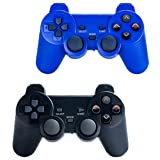 Saloke Wireless Gaming Controller for Ps2 Double Shock (Black and 1Blue) (Color: Black and 1Blue)