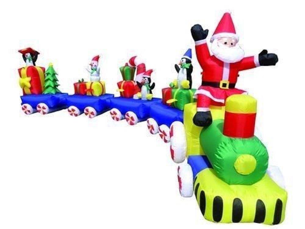 Santa outdoor inflatable trains christmas wikii