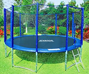SixBros. Trampoline de jardin bleu 4,30 M | Filet de sécurité | Échelle | Housse de protection - T430/157