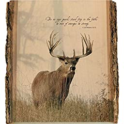 Legendary Whitetails Natural Wood Bible Verse Buck Wall Art Brown One Size