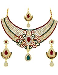 Sukkhi Resplendent Gold Plated AD Necklace Set For Women